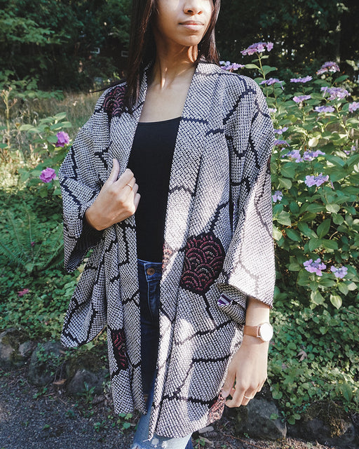 Vintage Shibori Haori, Black & White with Colorful Multi Pattern