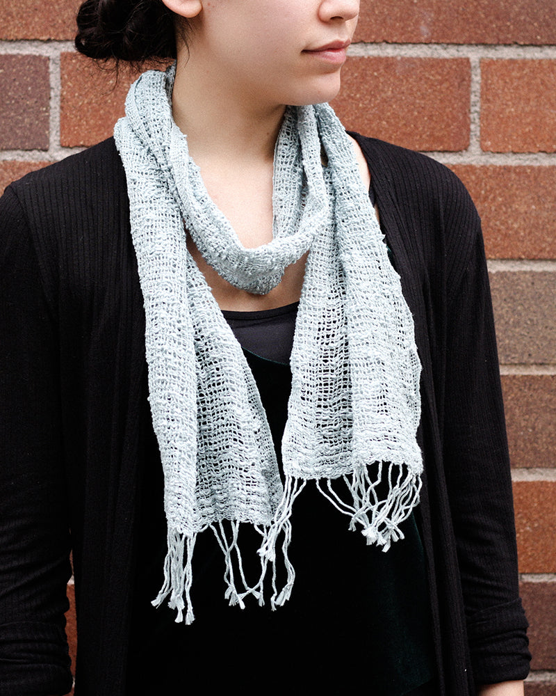 Kobo Oriza Open Weave Summer Scarf, Teal Gray