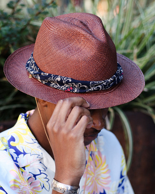 Dark Brown Panama Hat, Indigo Ornate Floral, Twisted Band