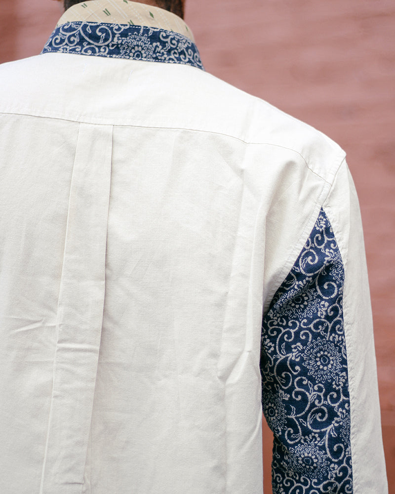 Button-Up Shirt, Mandarin Collar, V-Neck, Long Sleeve, Natural and Indigo Kikukarakusa