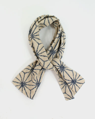 Indigo Large Asanoha Scarf, Off-White