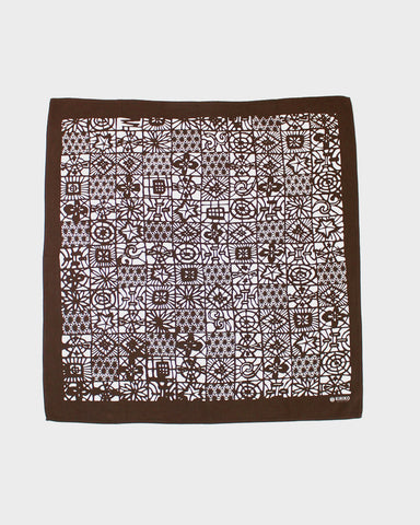 Bandana Hand-dyed Katazome Grid Brown