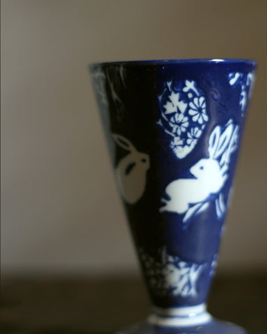 Hand-painted Indigo Cup, Rabbits