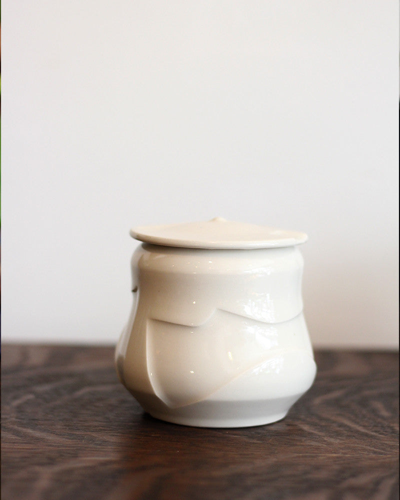 Kelly Pottery, Etched White Sugar Bowl