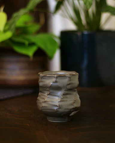 Kelly Pottery, Faceted Yunomi Charcoal