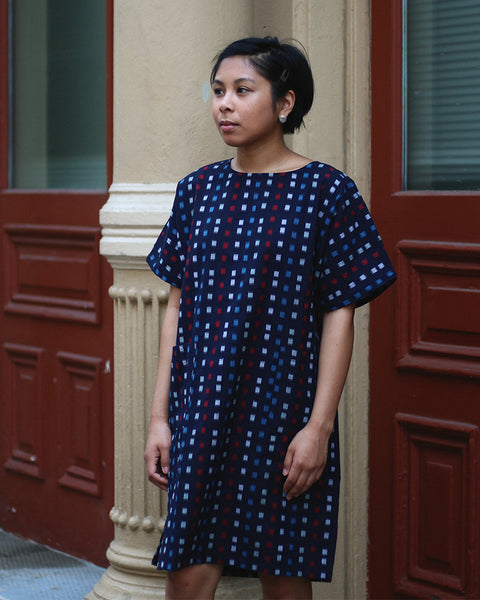 Oversized Kasuri Pocket Dress, Colored Grid