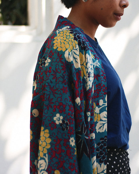 Vintage Kimono Haori Jacket, Maple Leaves and Chrysanthemum