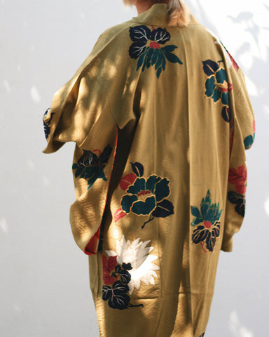 Vintage Kimono Haori Jacket, Green with Gold Embroidered Flowers