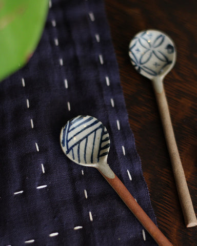Mashiko-Yaki Hand-Painted Spoon, Waves