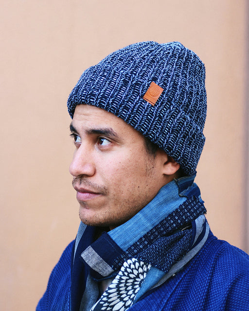Knit Cap Marbled Navy