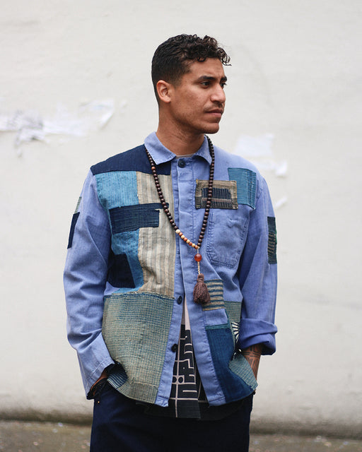 One of a Kind Boro Patched Vintage French Workman Jacket 10 (L)