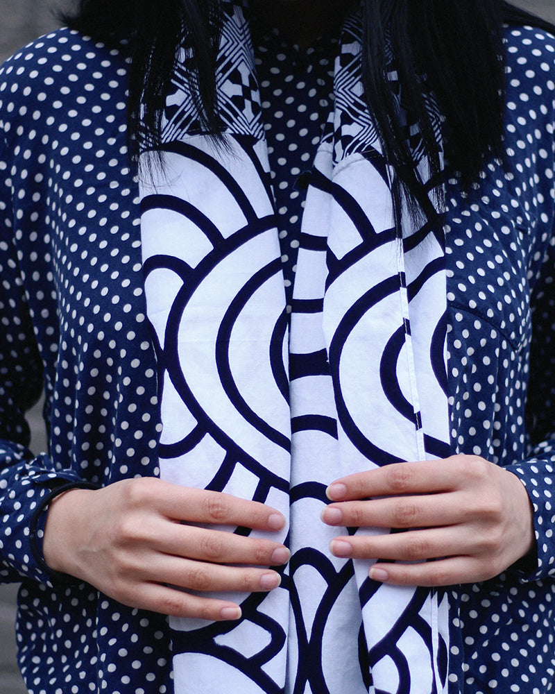 Yukata Scarf, White Seigaiha and Geometric Pattern