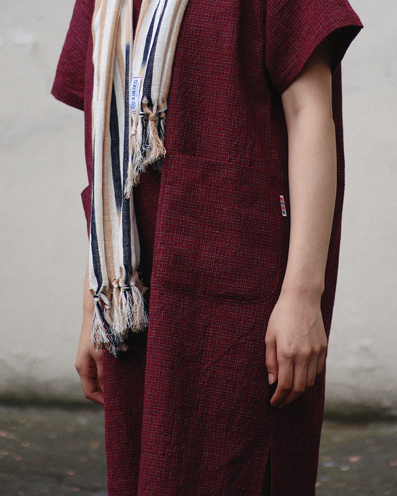 Oversized Pocket Dress, Red Small Grid