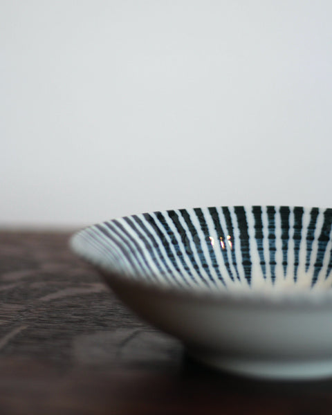 Minoyaki Hand-painted Pointy Stripe Bowl