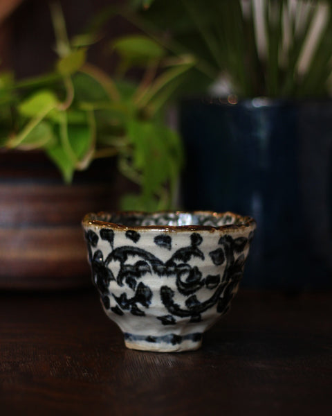 Mino-Yaki Hand Painted Vine Bowl
