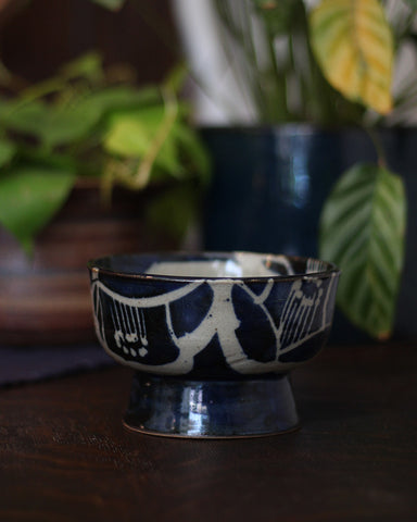 Mashiko-Yaki Hand Painted Navy Bowl