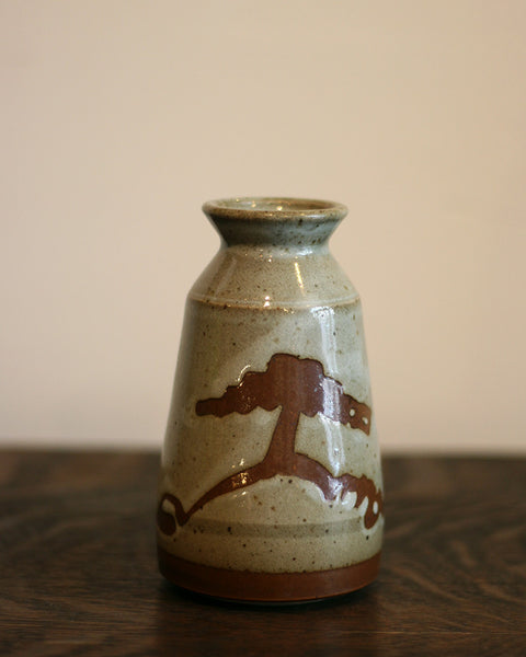 Vintage Small Vase with Scenic Illustrations