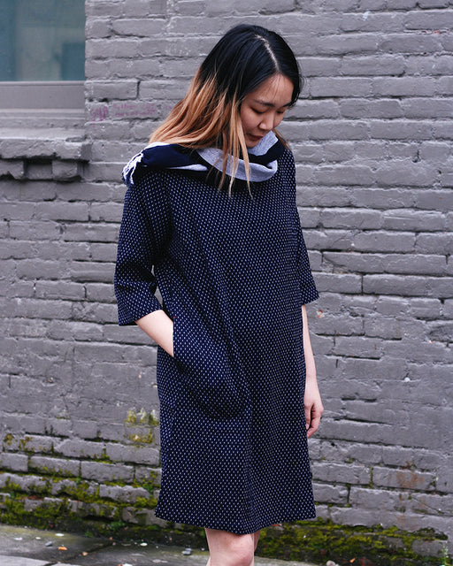 Kasuri 3/4 Sleeve Dress, Indigo with White Dashes