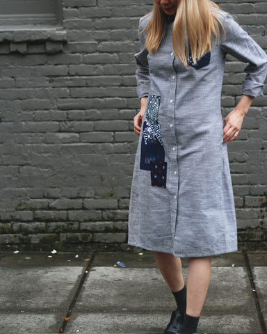 Bridge & Burn x Kiriko Hitotsu, Women's Kasuri Collar Dress