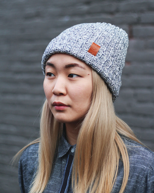 Knit Cap Marbled Navy and Natural