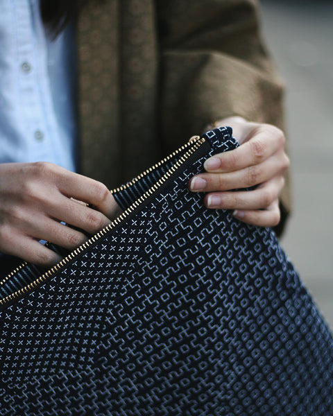 Foldable Sashiko Leather Clutch