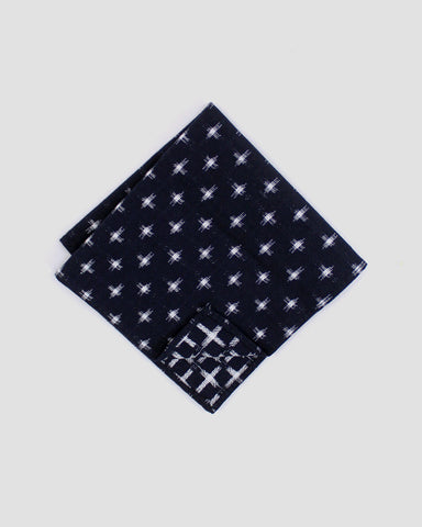 Pocket Square Navy Kasuri-Ori Cross