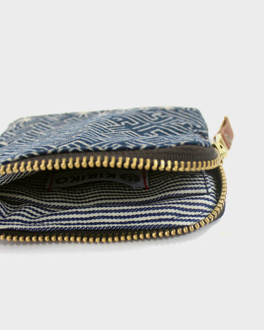 Zipper Wallet, Indigo Multipattern