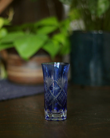 Kiriko Hand-Cut Shot Glass, Blue