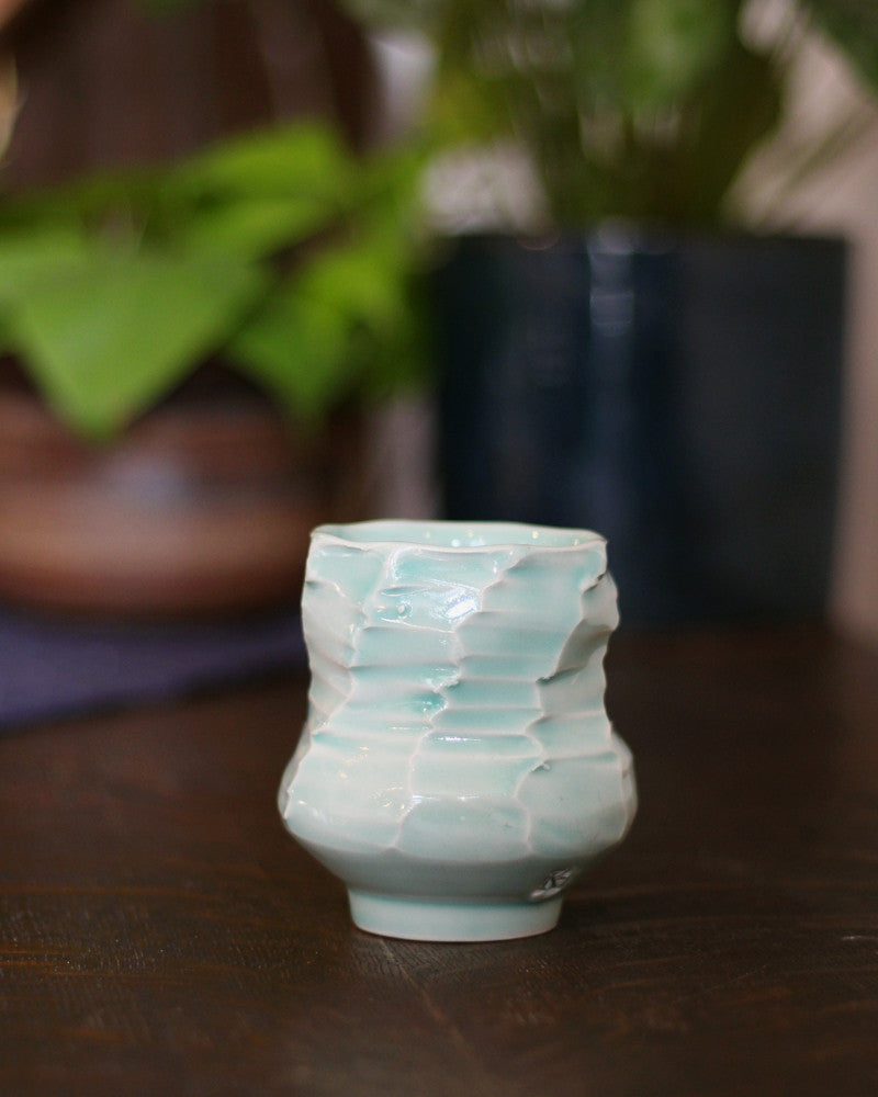 Kelly Pottery, Faceted Yunomi Celadon