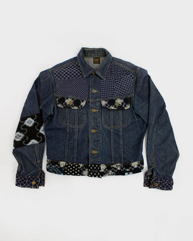 "One of a Kind Vintage Denim Jacket, ""Hand-Stitched Sashiko"""
