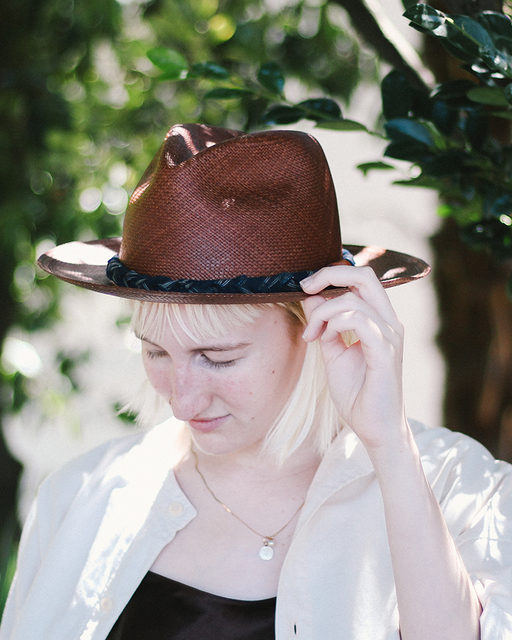 Panama Hat, Vintage Brown, and Indigo Shima, Braided Band