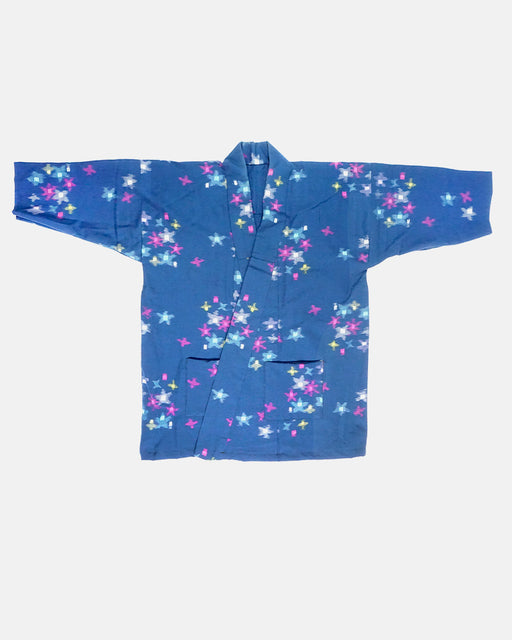 Altered Kimono Jacket, Blue with Magenta, Yellow, Cyan Stars