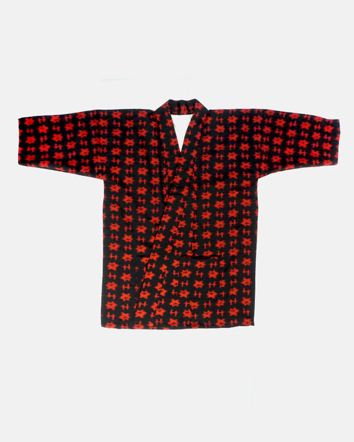 Altered Kimono Jacket, Black and Red Igeta with Flower