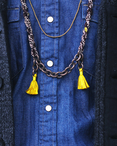 Boet X Kiriko Necklace, Brown Shibori, Vintage Chain and Tassels