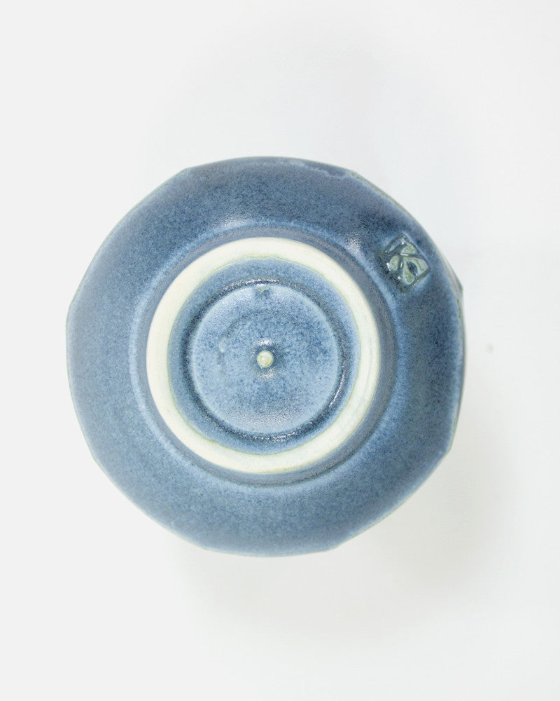 Kelly Pottery, Faceted Yunomi Muted Blue