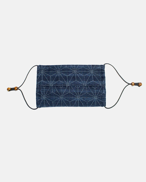 Face Mask, Indigo Dotted Asanoha (Pleated Rectangular)