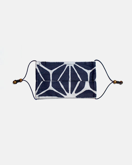 Face Mask, White and Navy, Large Asanoha (Pleated Rectangular)