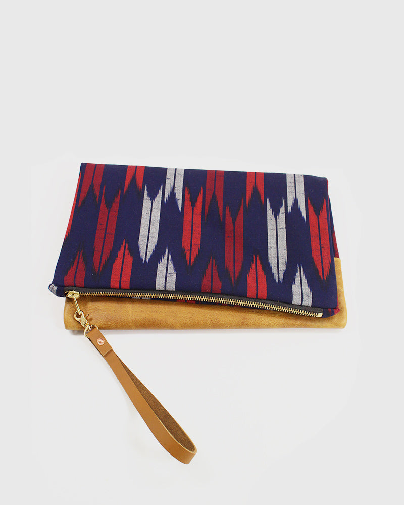 Foldable Red and Gray Yagasuri Leather Clutch