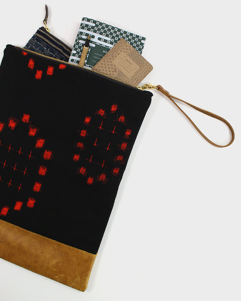 Foldable Black and Red Kasuri Clutch