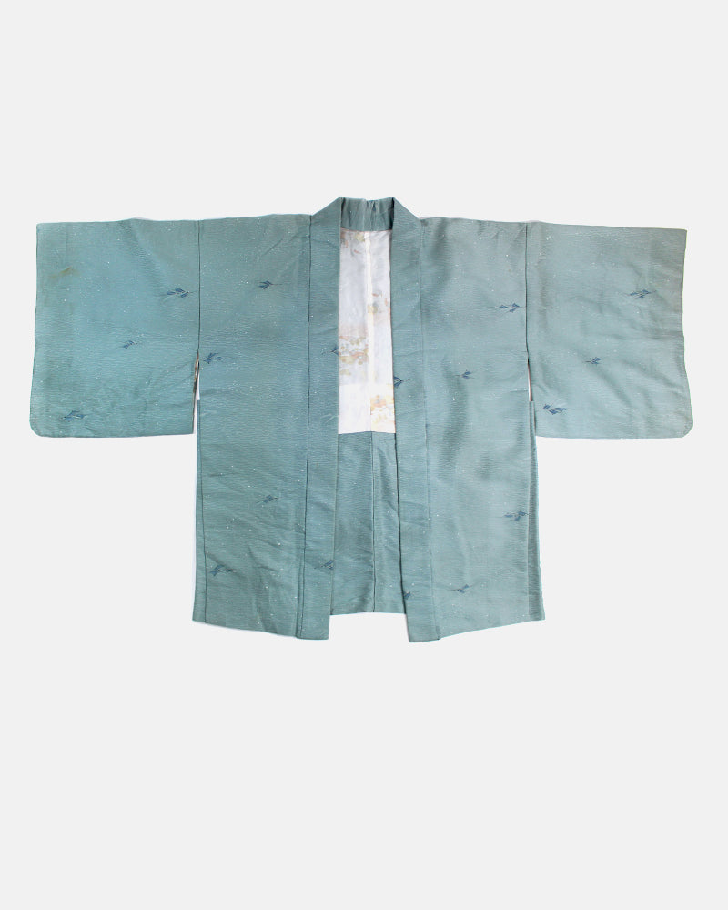 Vintage Haori Jacket, Speckled Light Mint with Floating Leaves