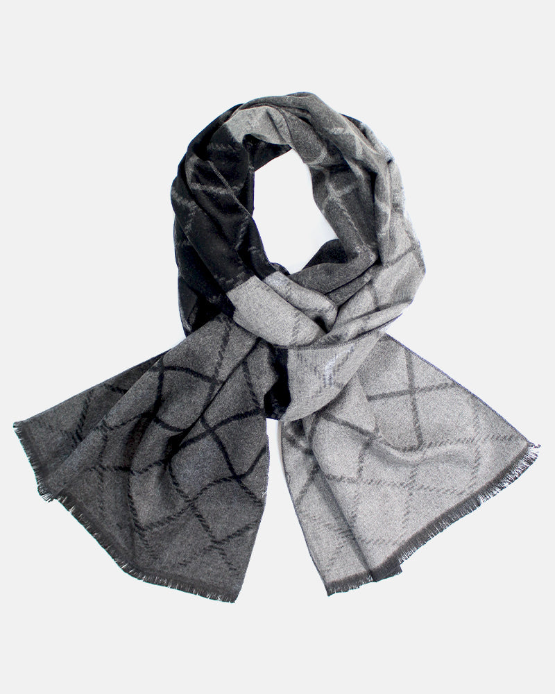 Hishi Winter Scarf, Charcoal and Grey