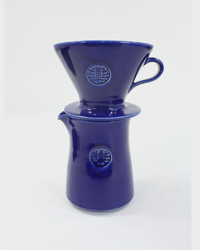 Kelly Pottery, Glazed Blue Ceramic Drip Coffee Filter