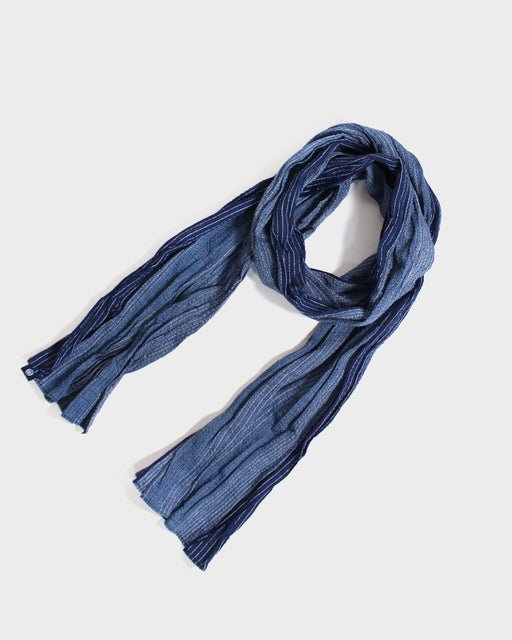 Kiji Scarf With Shijira Weave, Blue with Thin White Shima