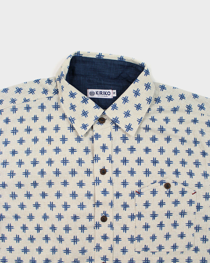 Button-Up Shirt Long-Sleeve Cream with Blue Igeta