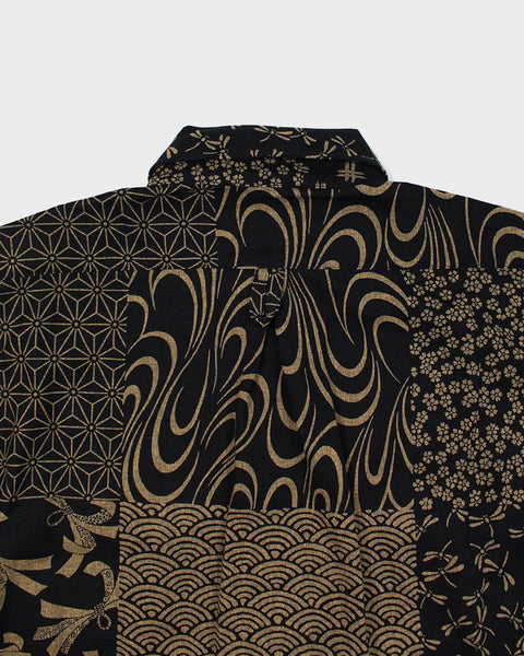 Button-Up Shirt Long-Sleeve Black and Tan Large Multi 02