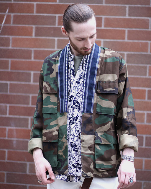 Camo Patched Military Jacket, with Indigo Men's Obi Collar