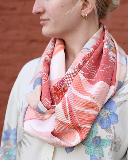 Kimono, Multi Color Blocks, Kumo and Floral Silk Infinity Scarf