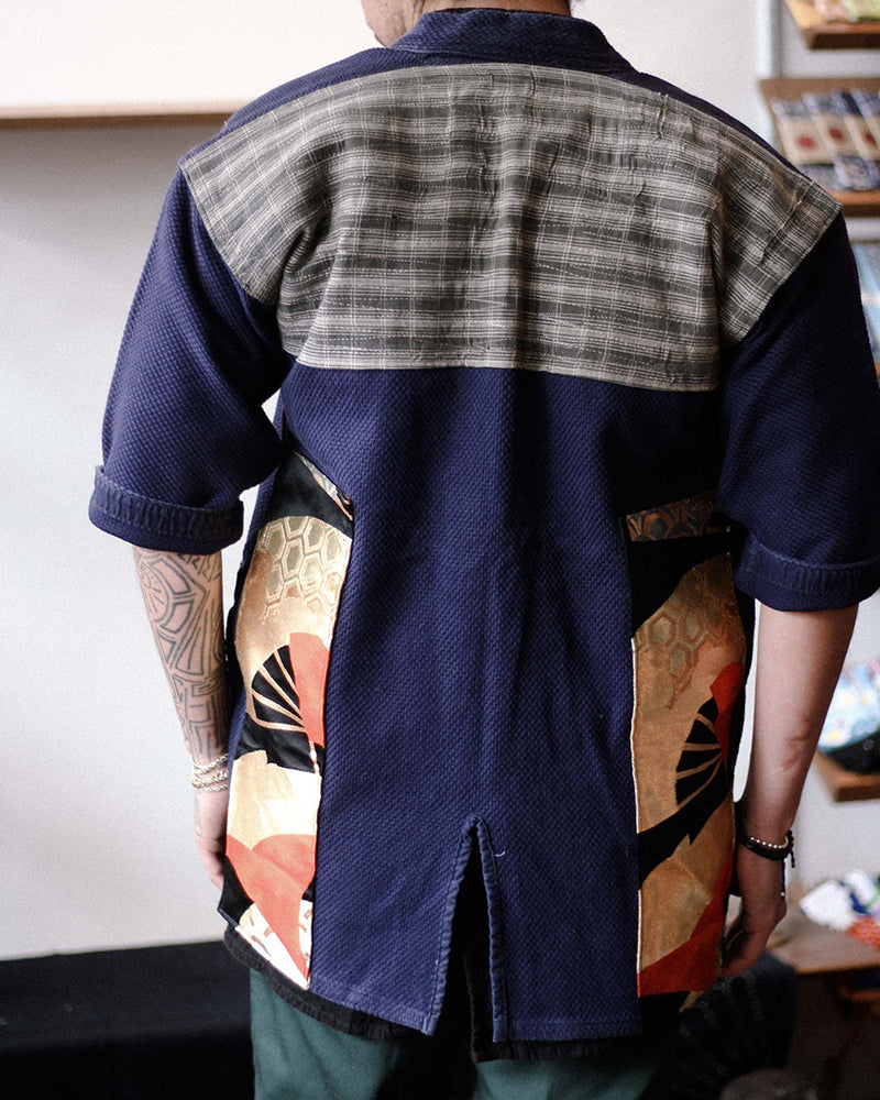 Patched Kendo Jacket, Grey Sashiko, Boro and Gold Obi