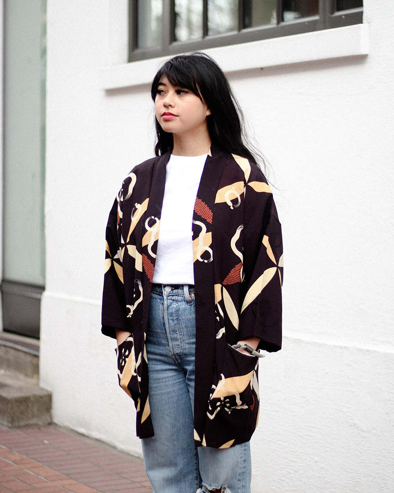 Modern Cut Haori Jacket, Dark Brown with Abstract Floral Brush Strokes