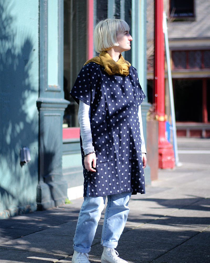 Oversized Pocket Dress, Blue Polka Dots